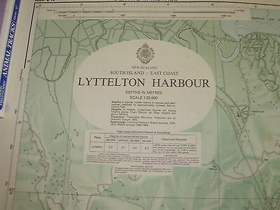 Vintage Nautical Map New Zealand Lyttelton Harbour