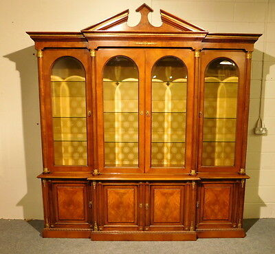 Large Regency Style Walnut And Gilt Metal Mounted Breakfront Cabinet - Bookcase