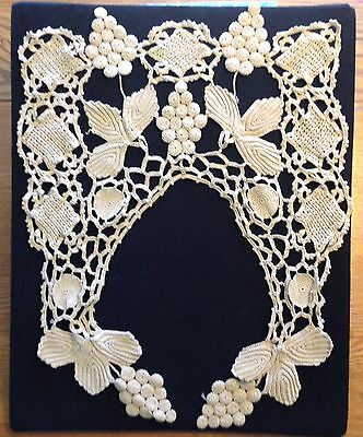 Antique / Vintage Cable Crochet Lace Collar - Grapes and Leaves / Victorian ?