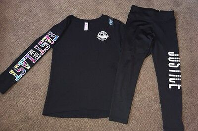 Justice Girls Active Shirt Top Tee Pants Leggings Outfit Size 7 8 New