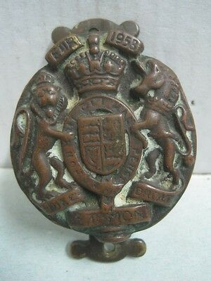 Antique bronze Door Knocker Royal Coat of Arms of the United Kingdom, 1953