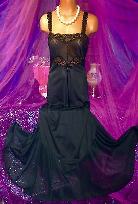 Black Peignoir Chantilly Lace Empire Chiffon Mermaid Sweep Long Nylon Gown S