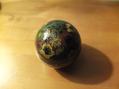 Japanese sphere shaped cloisonne box and cover very finely decorated