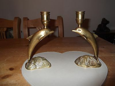 Old Pair of Brass Dolphin Candlesticks
