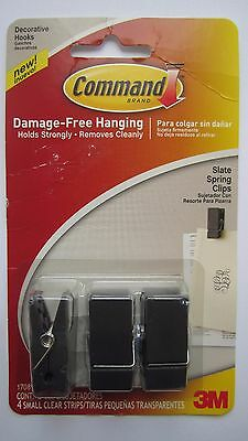 Command 3M Slate Spring Clips x 3 17089S-ES Decorative Hooks Freepost