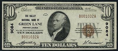 Fr1801-1 Type 1 $10 Valley Nb Of Green Lane, Pa #9084 Nat'l Currency Au Hw2594