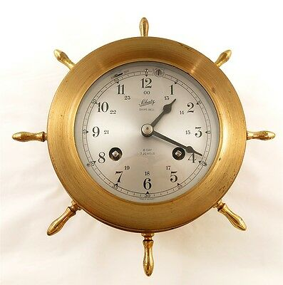 Vintage Schatz Ships Bell 8 Day 7 Jewel Brass Ships Wheel Clock