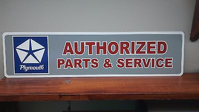 "Plymouth Authorized parts & Service Aluminum Sign  6"" x 24"""