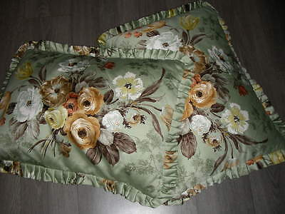 Vintage pair pretty cotton green chintz Sanderson cushions zip fastening
