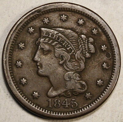 1845 Large Cent, Braided Hair, Very Fine - Nice Type Coin  0903-03