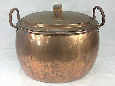 Large Antique Copper Cauldron / Gypsy Cooking Pot With Lid And Dovetail Seams