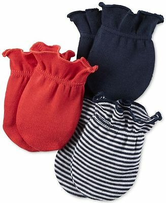 New Carter's 3 Pack Baby Mittens size 0-3 months NWT 100% Cotton Boys Red Navy