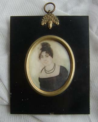Antique VICTORIAN Hand Painted PORTRAIT Miniature of a Lady in an Ebonised Frame