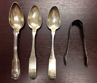 Dumoutet Philadelphia Early American Lot Coin Silver Spoons Sugar Tong 18th Cent