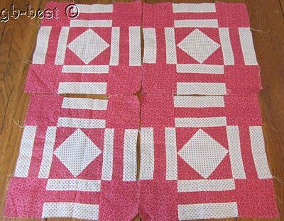 4 Antique c 1890-1900 Double Pink Patch QUILT Blocks quilting frame