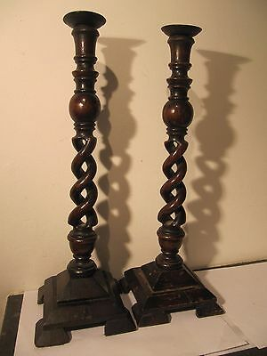 Pair Tall Wooden Twisted Vintage Candlesticks