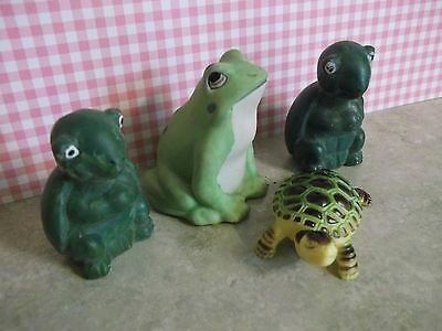 3 VTG.TURTLE and one spotted frog miniature figurines~perfect for decorating~