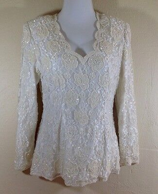 Vintage Laurence Kazan - Off White Beaded Top Pearls Sequins Lace Bridal Formal