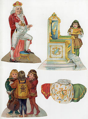 Lion Coffee Old King Cole Nursery Rhyme Paper Dolls, King Cole, Throne, Fiddlers