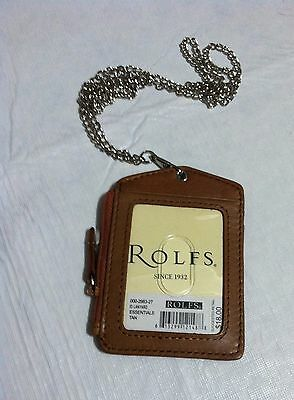 Rolfs Leather Id Badge Holder Tan Zippered Lanyard With Neck Chain 3 Cards Slot