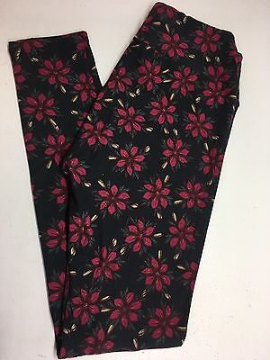 LuLaRoe LLR NEW OS Leggings One Size  NWT Unicorn Black / Burgundy Flowers