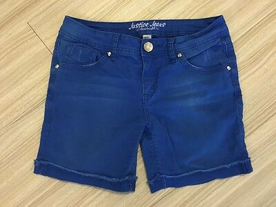 Justice Girl's Simply Low Blue Distressed Shorts Size 14P