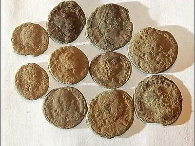 10 ANCIENT ROMAN COINS AE3 - Uncleaned and As Found! - Unique Lot 11502