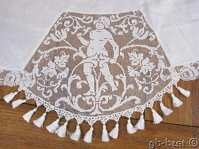 Antique Figural LINEN Filet Needle Lace Round Tablecloth FRINGED wedding white