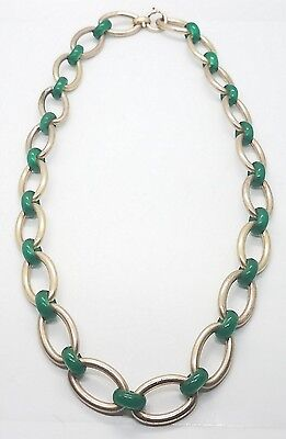 Antique Vintage Yellow Gold Filled Green Jade Unique Heavy Necklace