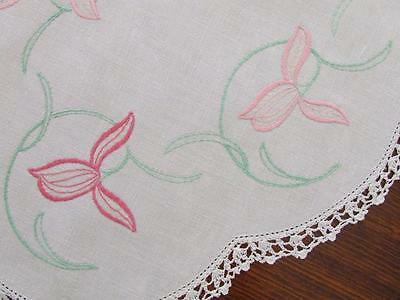 Hand Embroidered Vintage Centre Doily - Two Toned Pink Florals Crocheted Edging