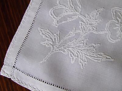 Beautiful Hand Embroidered White on White Vintage Centrepiece Doily Mat