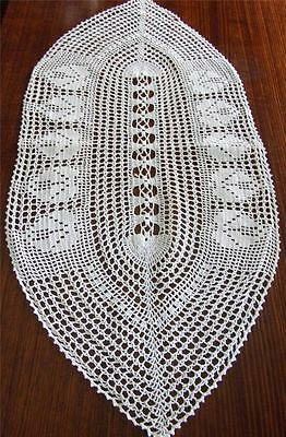 Beautiful Snow White Hand Crocheted Oval Shaped Table Runner - 80 x 36 cm