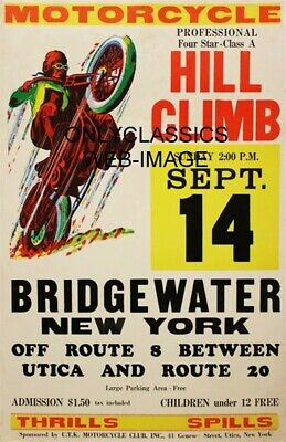 1950's VINTAGE MOTORCYCLE RACING DAREDEVIL HILLCLIMB POSTER BRIDGEWATER NEW YORK