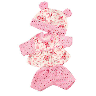 Pink Dots Pajamas + Bear Hat Clothes Outfit for 43-45cm Zapf Baby Born Doll