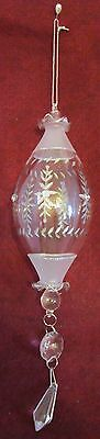 Victorian Clear Hand Blown Etched Jeweled Crystal Teardrop Ornament w/Crystals