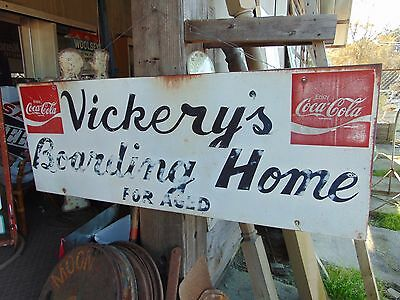 Vintage Original Coca Cola Courtesy Panel Sign Vickery's Boarding Home For Aged