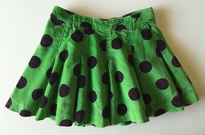 babyGap Green Cotton Velvet Polka Dot Pleat Skirt 3Y 3T
