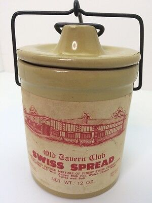 Vintage Old Tavern Club Swiss Cheese Spread Crock Pottery