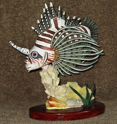 Beautiful Lion Fish Collectible Figurine / Wooden Base