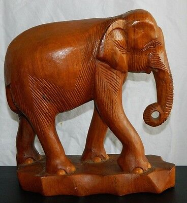 """Old India Large Carved Solid Wooden Elephant Figure On Stand 10"""" Vintage"""