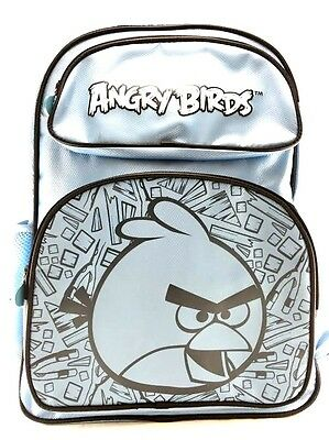 "New Rovio Angry Birds Canvas Shine Blue 16"" School Backpack"