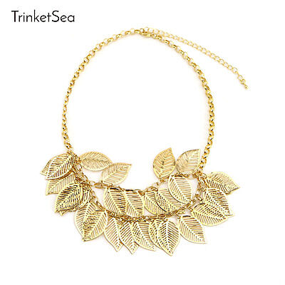 Statement Necklace for Women Golden 2 Layers Leaves Short Chain Fashion Jewelry