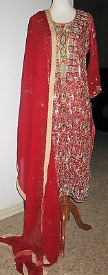 Ladies NEW bridal red Kameez kamiz heavily embellished with pearls, crystals Sm
