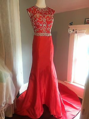 Red Mermaid Prom Dress Elegant Long Beaded Evening Gown Party Dress
