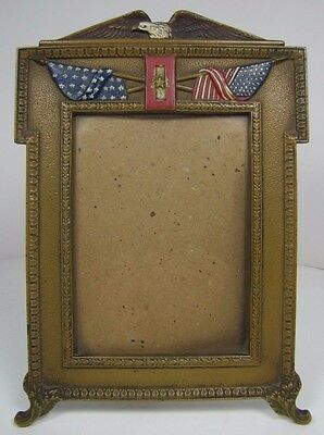 Antique Eagle American Flag Decorative Art Frame Cast Iron Multi Color Old Paint