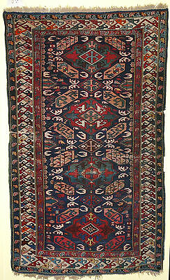 Very RARE Antique Caucasian Kuba pile rug over 100 years old Great Vegetable Dye