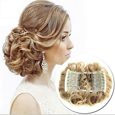 Women Wave Curly Combs Clip In Hair Bun Chignon Piece Updo Cover Extensions