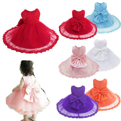 Flower Baby Girl Wedding Party Christening Gown Formal Pageant Ruffle Tutu Dress