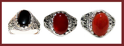 Islamic Shia China Agate- Aqeeq Men Ring Silver Plated - FREE Shipping