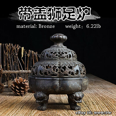 Elegant Rare Chinese Incense Burner China Bronze Censer Collection Art A02